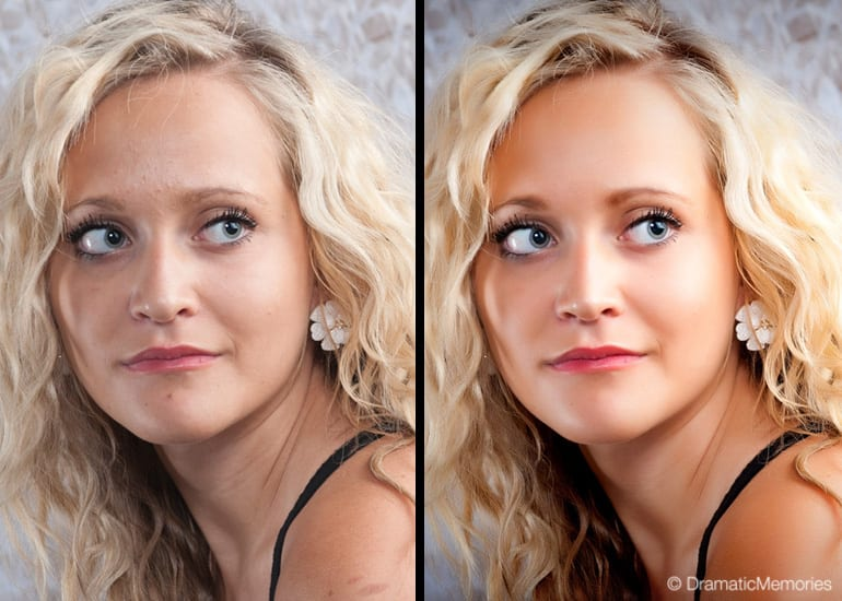 two closeups of a young woman