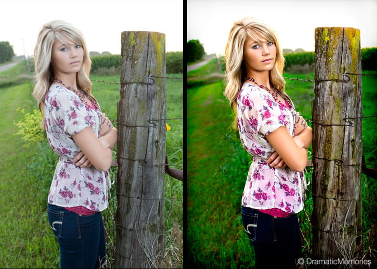 Senior girl in the country leaning on a fence post.