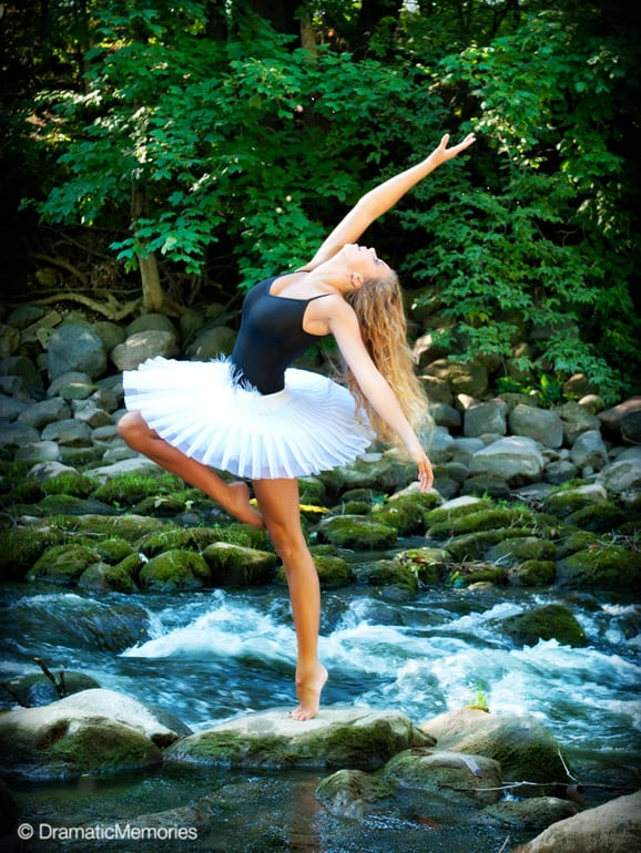 dancer posing on a rock in the middle of river rapids