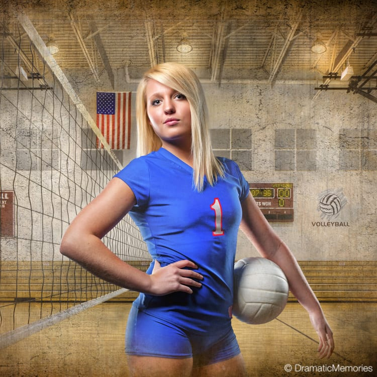 senior volleyball player standing in an old gym