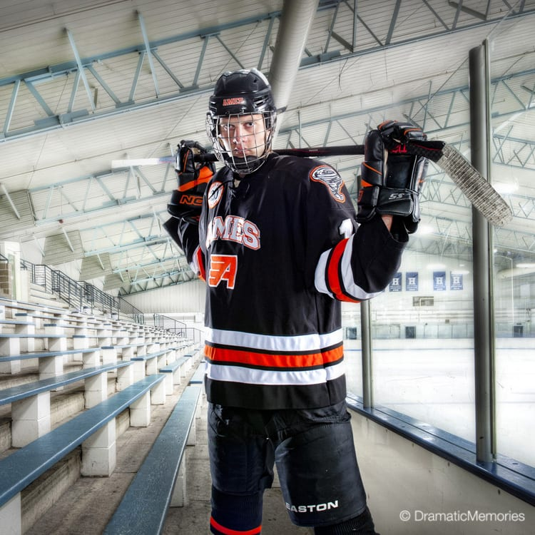 Sports Senior Pictures Hockey Player at Rink