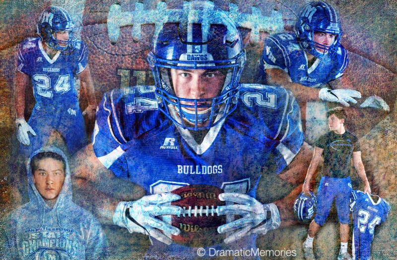 senior football player in different stances in sports montage